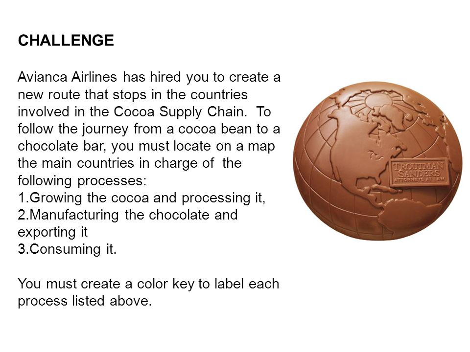 CHALLENGE Avianca Airlines has hired you to create a new route that stops in the countries involved in the Cocoa Supply Chain. To follow the journey f