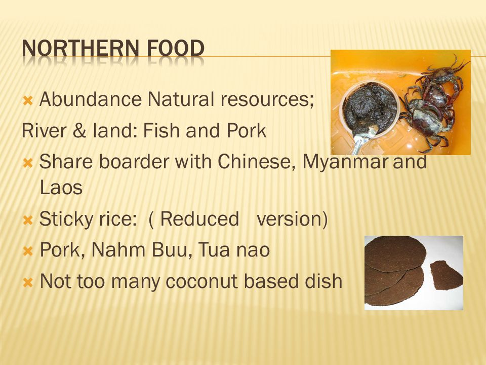 Abundance Natural resources; River & land: Fish and Pork Share boarder with Chinese, Myanmar and Laos Sticky rice: ( Reduced version) Pork, Nahm Buu, Tua nao Not too many coconut based dish
