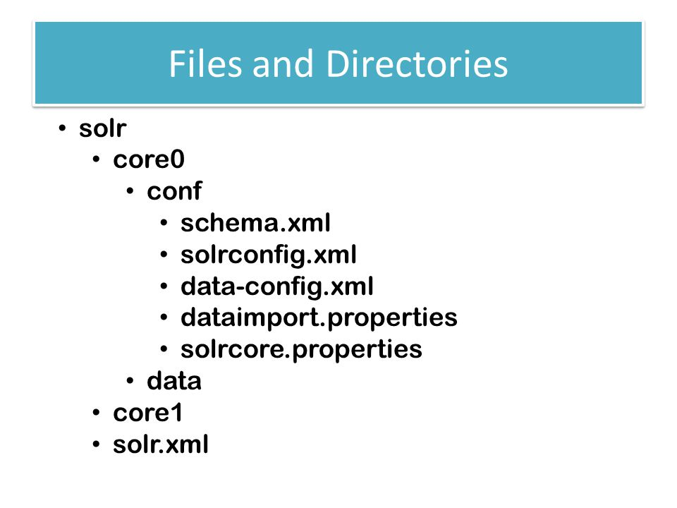 Files and Directories solr core0 conf schema.xml solrconfig.xml data-config.xml dataimport.properties solrcore.properties data core1 solr.xml