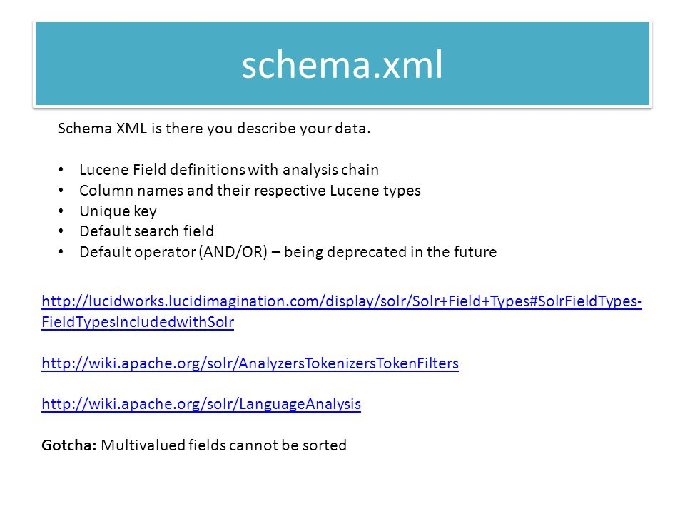 schema.xml Schema XML is there you describe your data.
