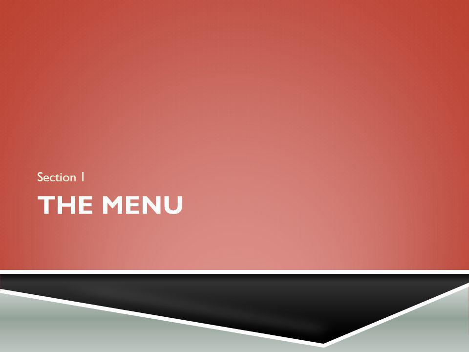 THE MENU Section 1