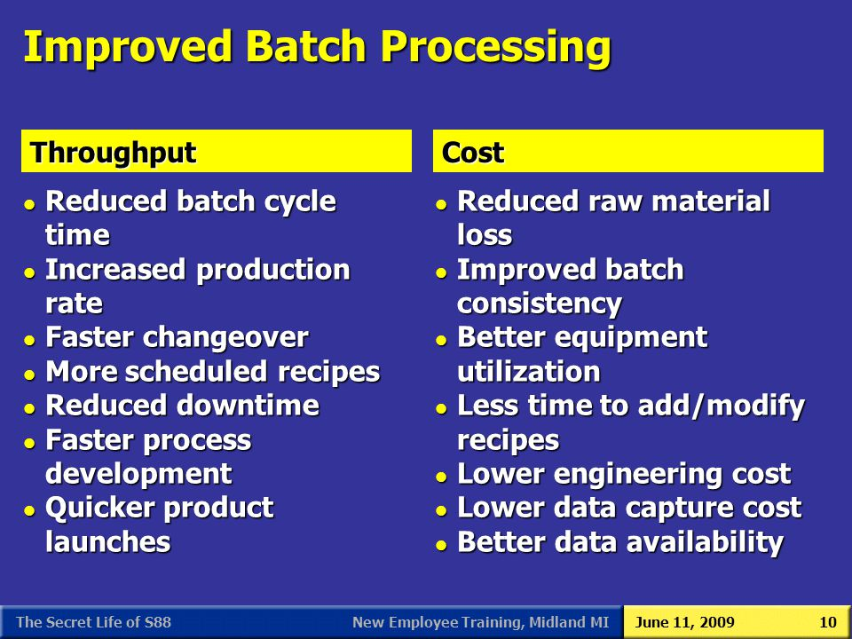 New Employee Training, Midland MIJune 11, 2009The Secret Life of S8810 Improved Batch Processing l Reduced batch cycle time l Increased production rat