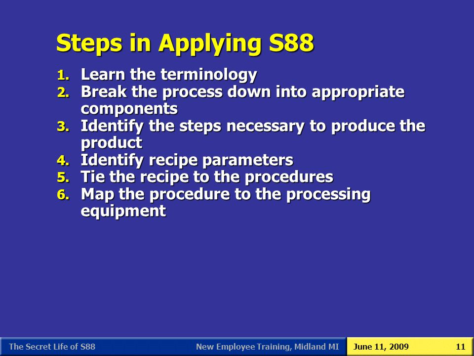 New Employee Training, Midland MIJune 11, 2009The Secret Life of S8811 Steps in Applying S88 1. Learn the terminology 2. Break the process down into a