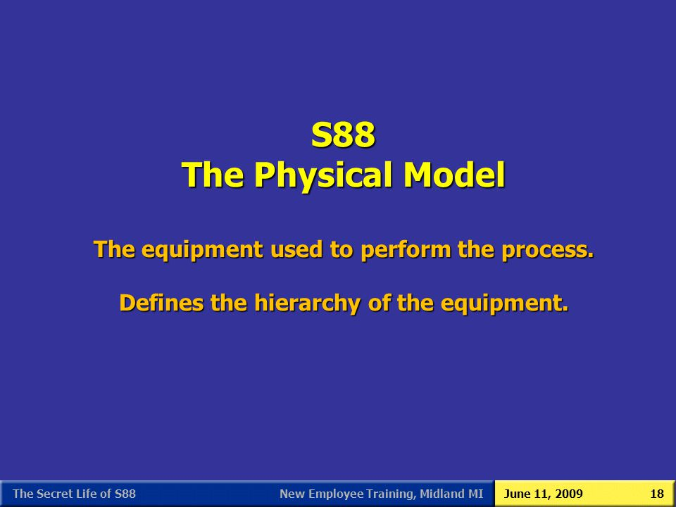 New Employee Training, Midland MIJune 11, 2009The Secret Life of S8818 S88 The Physical Model The equipment used to perform the process. Defines the h