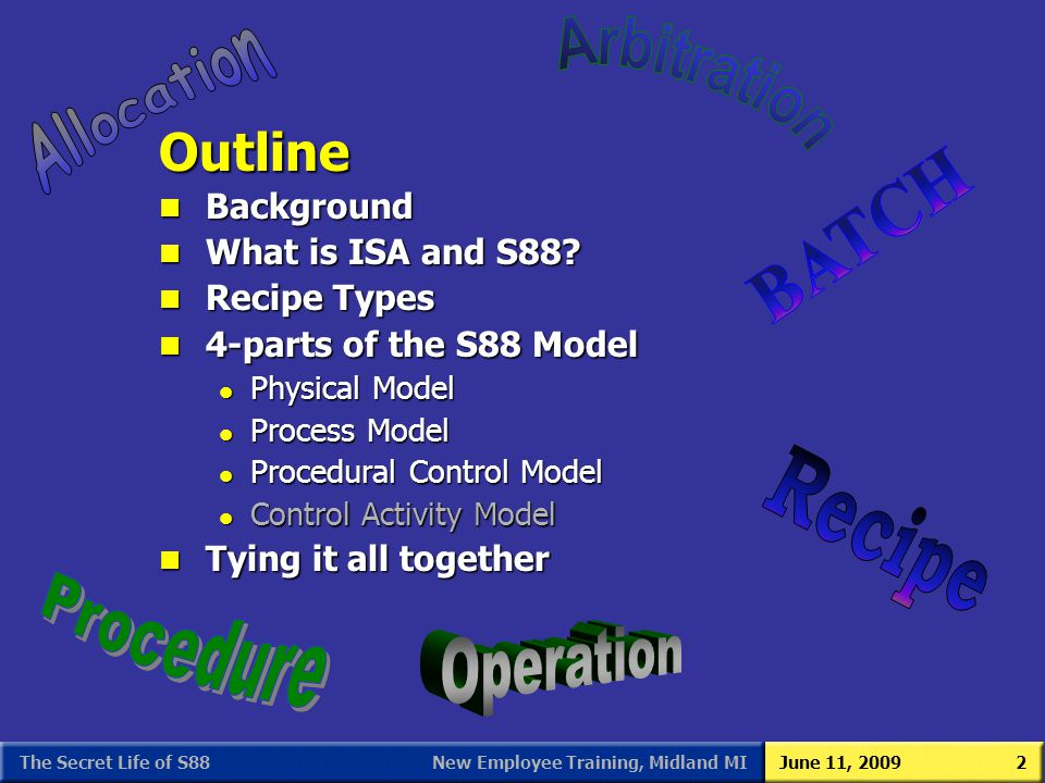 New Employee Training, Midland MIJune 11, 2009The Secret Life of S882 n Background n What is ISA and S88? n Recipe Types n 4-parts of the S88 Model l