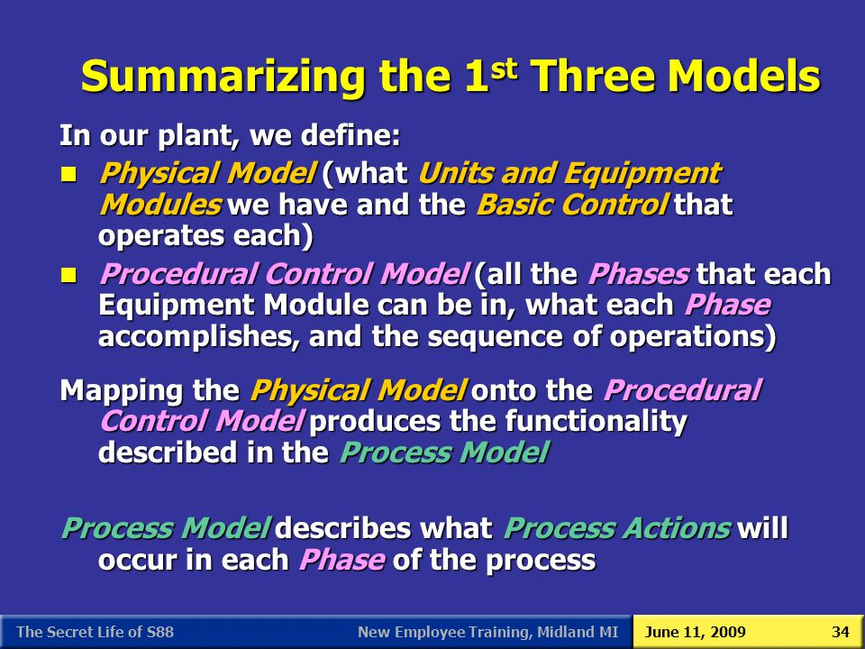 New Employee Training, Midland MIJune 11, 2009The Secret Life of S8834 In our plant, we define: n Physical Model (what Units and Equipment Modules we