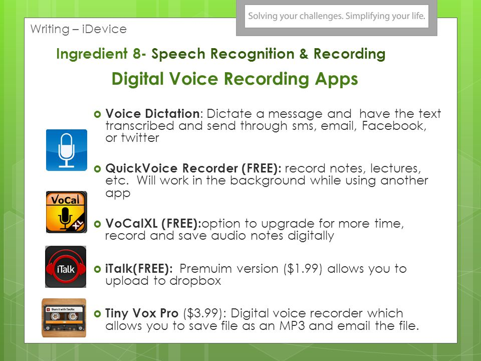 Digital Voice Recording Apps Voice Dictation : Dictate a message and have the text transcribed and send through sms, email, Facebook, or twitter QuickVoice Recorder (FREE): record notes, lectures, etc.