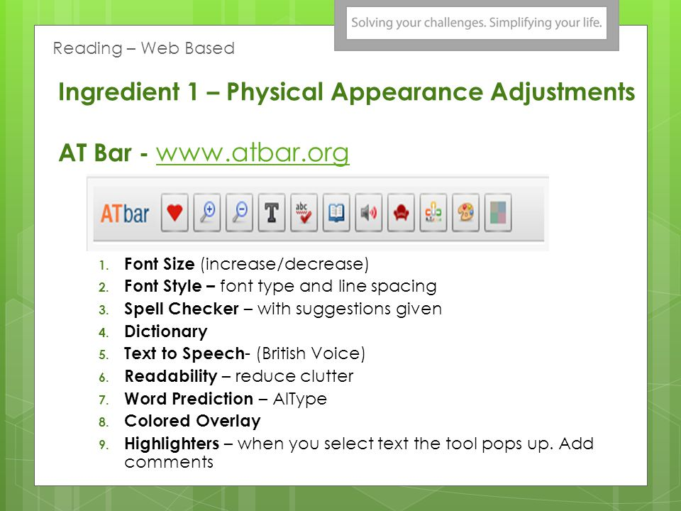Ingredient 1 – Physical Appearance Adjustments AT Bar - www.atbar.org www.atbar.org 1.