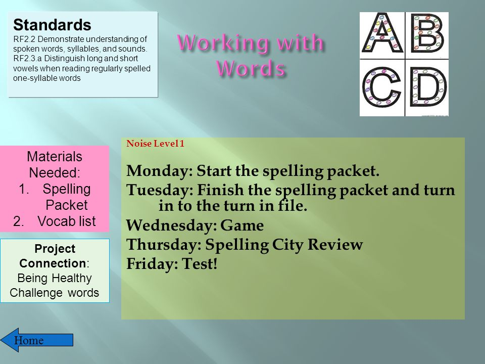 Noise Level 1 Monday: Start the spelling packet.