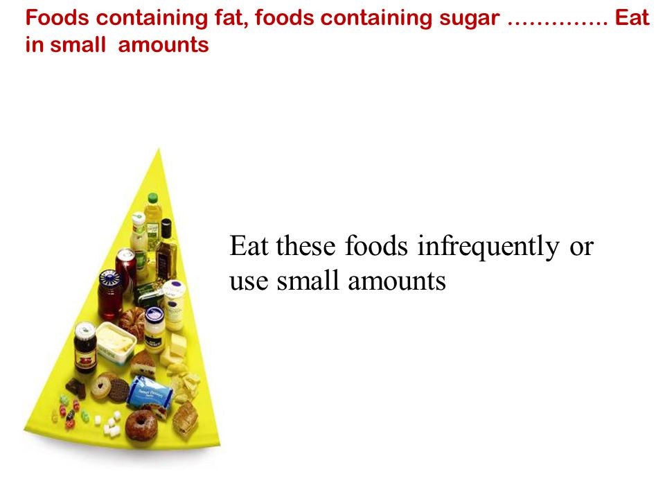 Foods containing fat, foods containing sugar ………….. Eat in small amounts Eat these foods infrequently or use small amounts