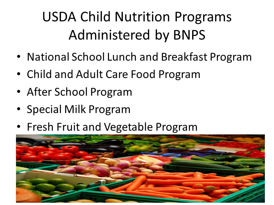 USDA Child Nutrition Programs Administered by BNPS National School Lunch and Breakfast Program Child and Adult Care Food Program After School Program