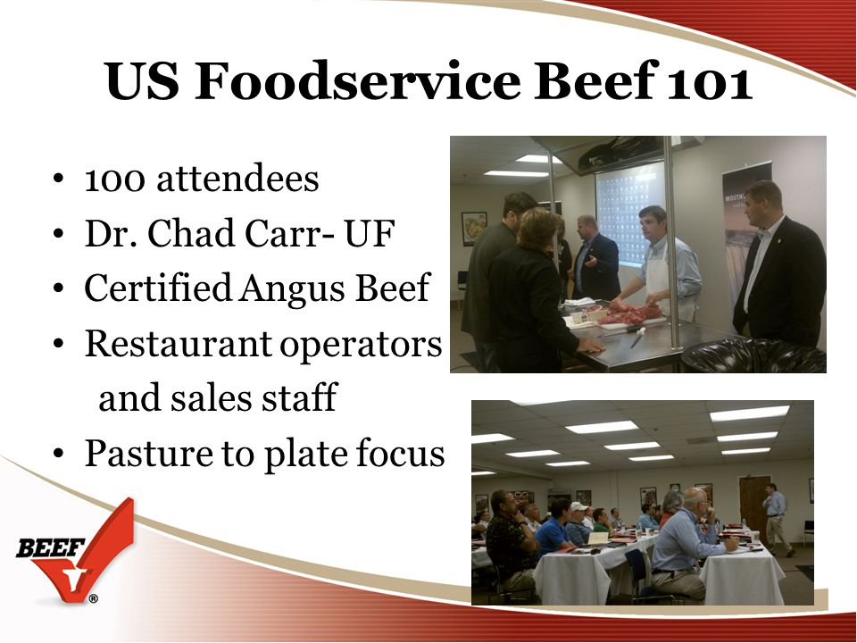 US Foodservice Beef 101 100 attendees Dr.