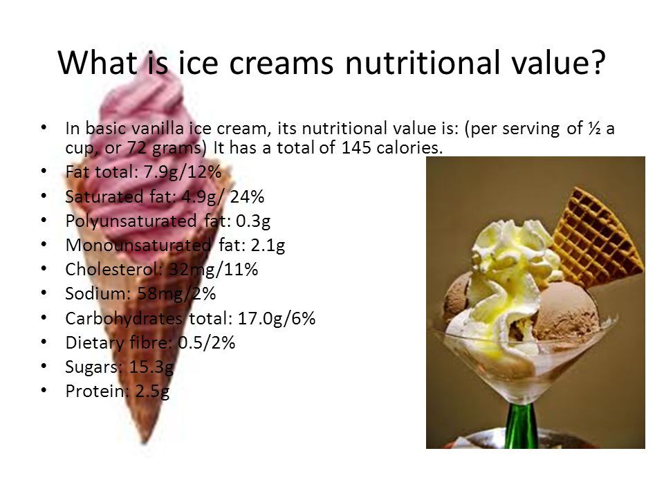 What is ice creams nutritional value.