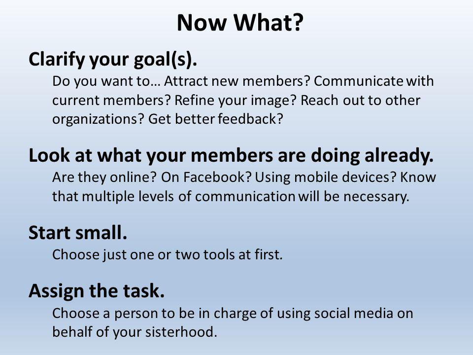 Now What. Clarify your goal(s). Do you want to… Attract new members.