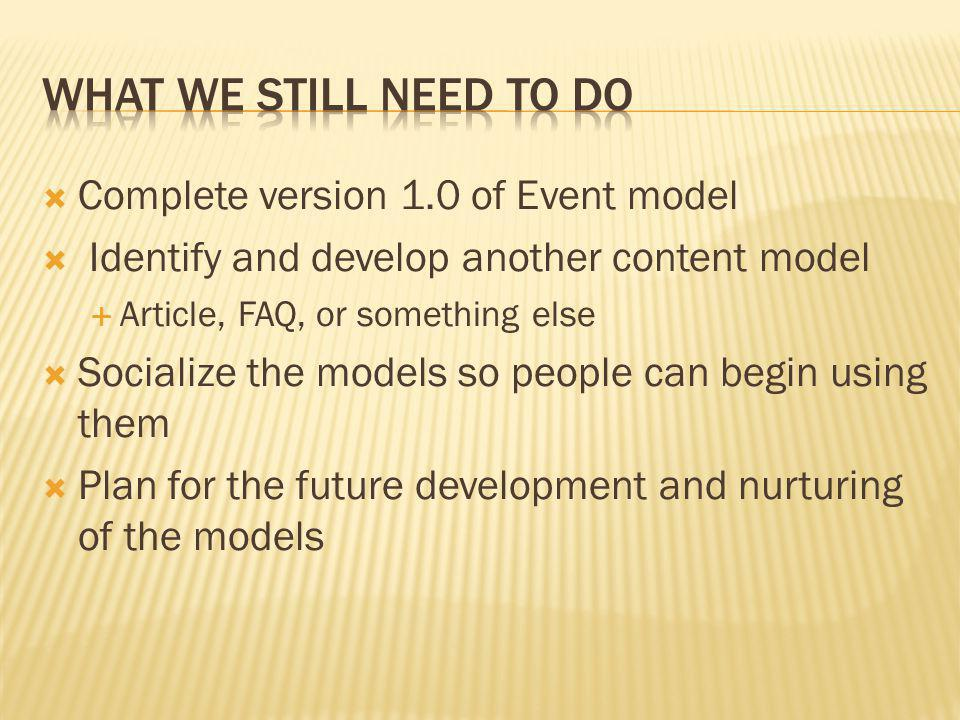 Complete version 1.0 of Event model Identify and develop another content model Article, FAQ, or something else Socialize the models so people can begi