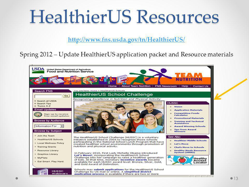 HealthierUS Resources 13 http://www.fns.usda.gov/tn/HealthierUS/ Spring 2012 – Update HealthierUS application packet and Resource materials