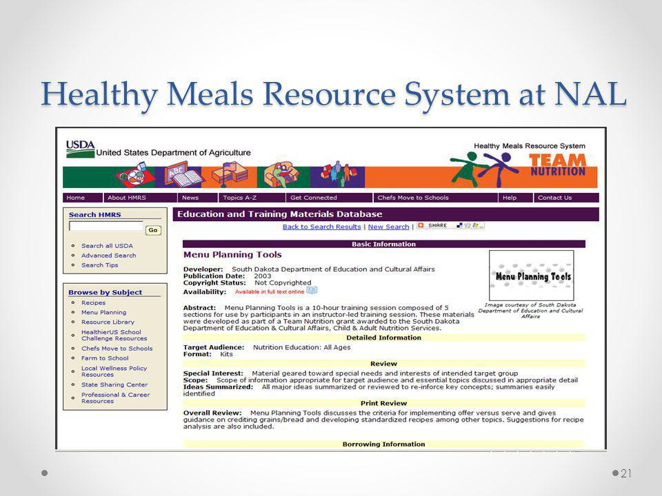 Healthy Meals Resource System at NAL 21