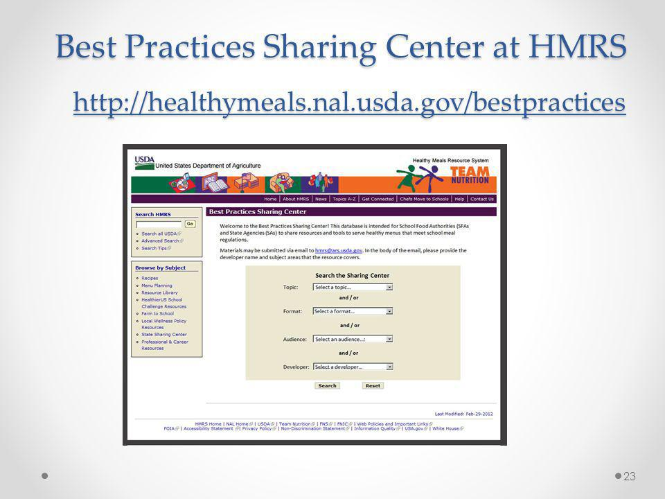 Best Practices Sharing Center at HMRS http://healthymeals.nal.usda.gov/bestpractices 23