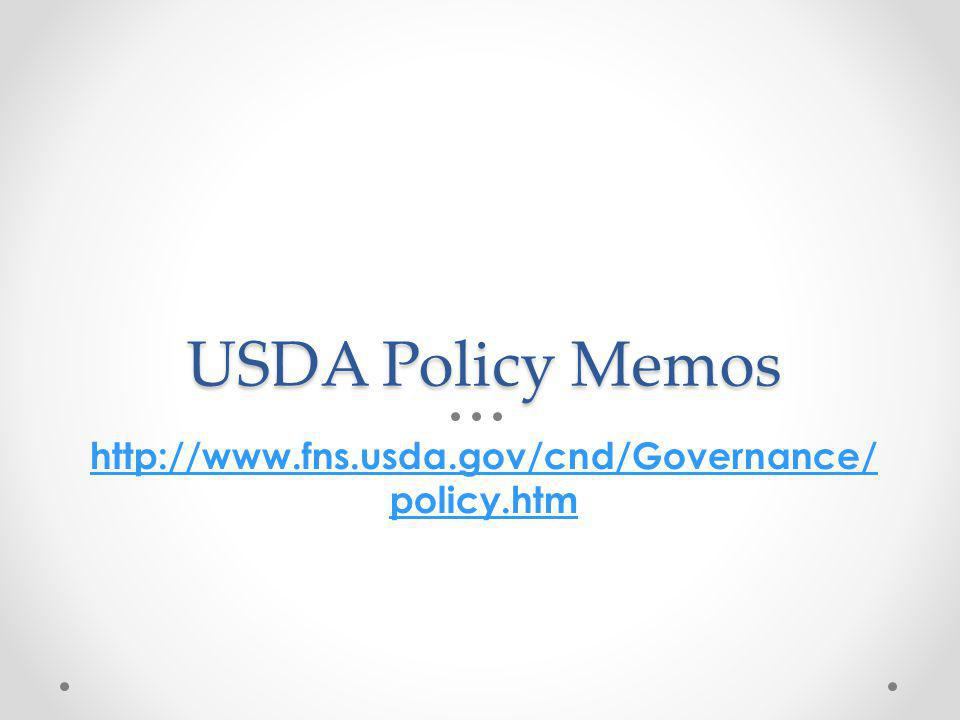 USDA Q & A on New Meal Pattern Requirements http://www.fns.usda.gov/cnd/governance/ Policy-Memos/2012/SP10-2012osr2.pdfwww.fns.usda.gov/cnd/governance/ Policy-Memos/2012/SP10-2012osr2.pdf