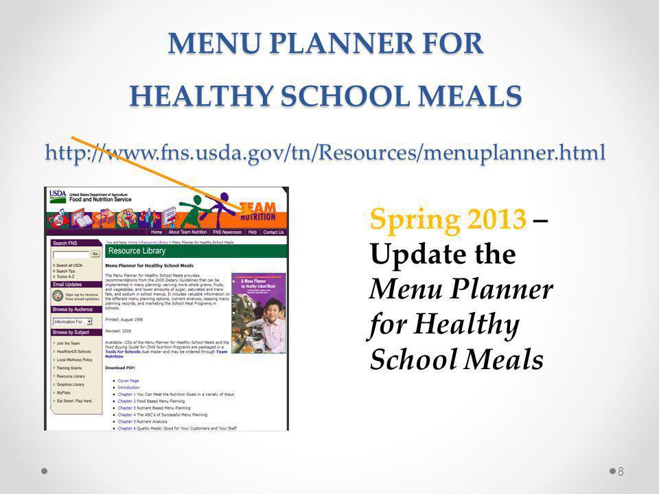 9 http://teamnutrition.usda.gov/Resources/dgfactsheet_hsm.html Fact Sheets For Healthier School Meals