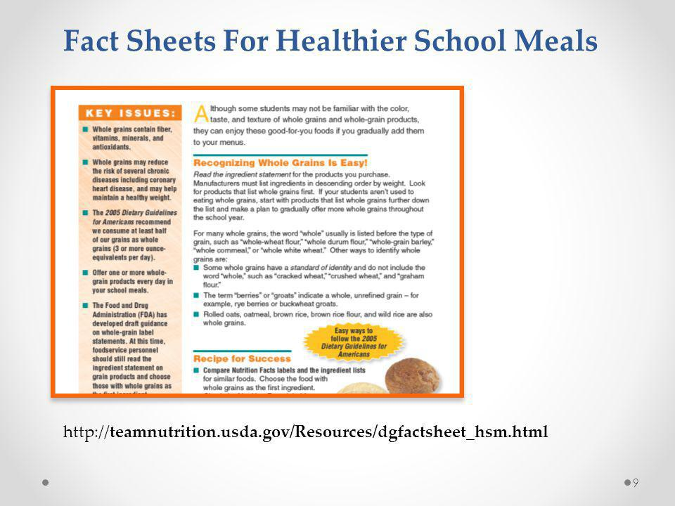 10 http://www.fns.usda.gov/tn/Resources/r4hk.html 30 Recipes including whole grain rich and vegetable sub-groups crediting AVAILABLE : Late Spring or Early Summer 2012 - Recipes for Healthy Kids Cookbooks