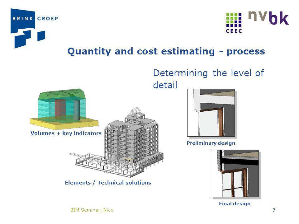 Quantity and cost estimating - process Determining the level of detail Volumes + key indicators Elements / Technical solutions Preliminary design Fina
