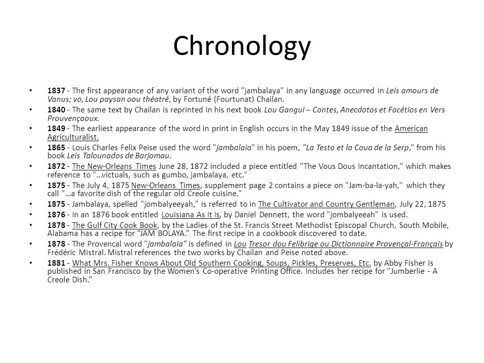 Chronology 1837 - The first appearance of any variant of the word
