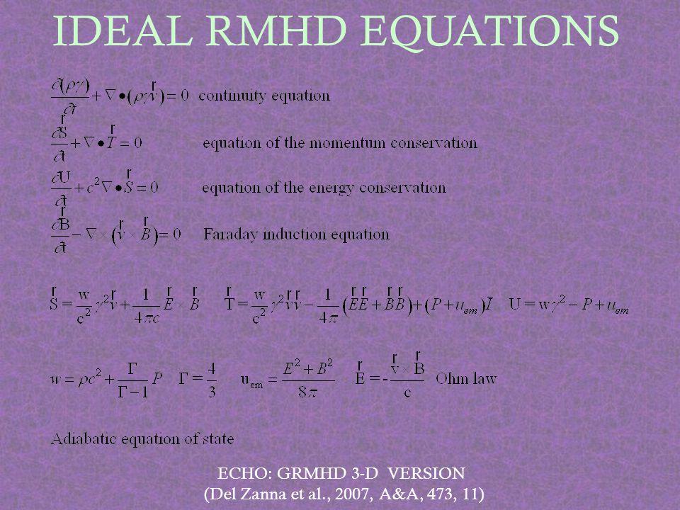 IDEAL RMHD EQUATIONS ECHO: GRMHD 3-D VERSION (Del Zanna et al., 2007, A&A, 473, 11)