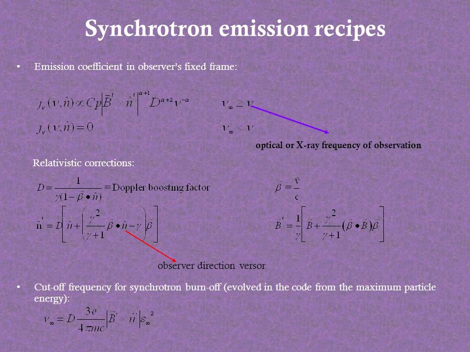 Synchrotron emission recipes Emission coefficient in observers fixed frame: Relativistic corrections: Cut-off frequency for synchrotron burn-off (evol