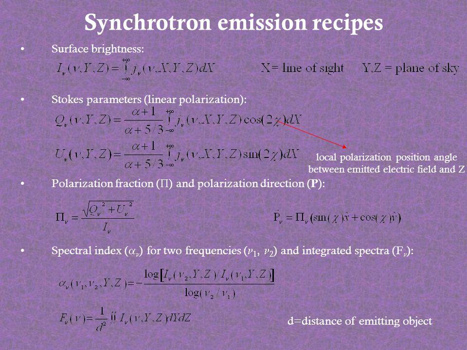 Synchrotron emission recipes Surface brightness: Stokes parameters (linear polarization): Polarization fraction ( ) and polarization direction ( P ):