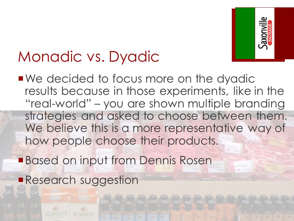 Monadic vs. Dyadic We decided to focus more on the dyadic results because in those experiments, like in the real-world – you are shown multiple brandi