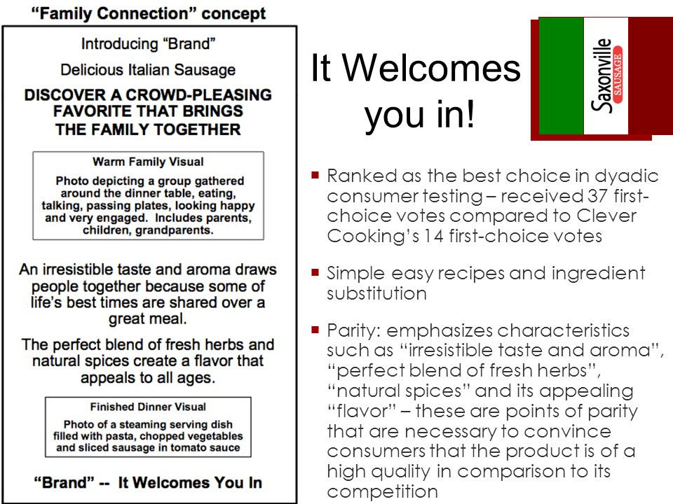 Ranked as the best choice in dyadic consumer testing – received 37 first- choice votes compared to Clever Cookings 14 first-choice votes Simple easy recipes and ingredient substitution Parity: emphasizes characteristics such as irresistible taste and aroma, perfect blend of fresh herbs, natural spices and its appealing flavor – these are points of parity that are necessary to convince consumers that the product is of a high quality in comparison to its competition It Welcomes you in!