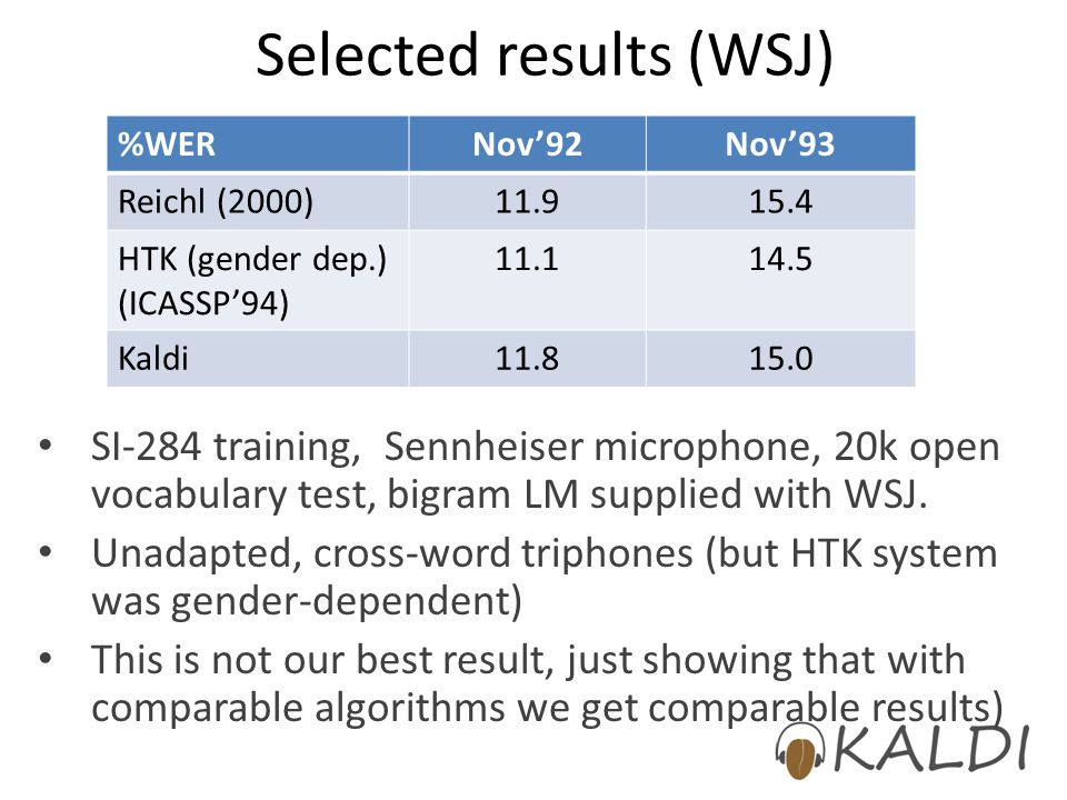 Selected results (WSJ) SI-284 training, Sennheiser microphone, 20k open vocabulary test, bigram LM supplied with WSJ. Unadapted, cross-word triphones