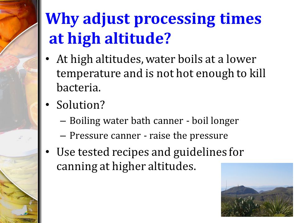Why adjust processing times at high altitude.