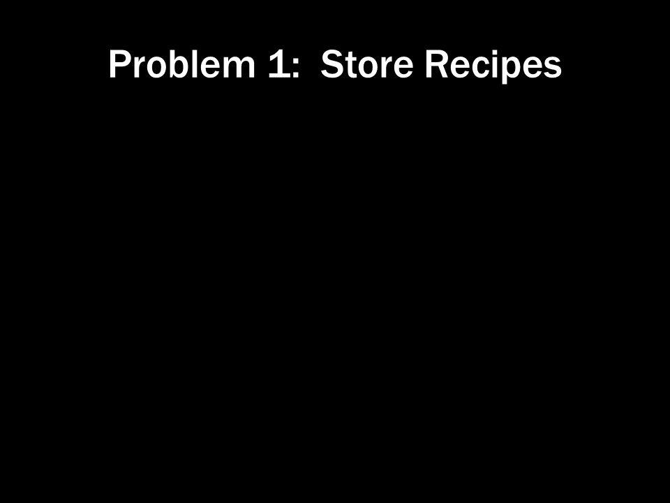 Problem 1: Store Recipes