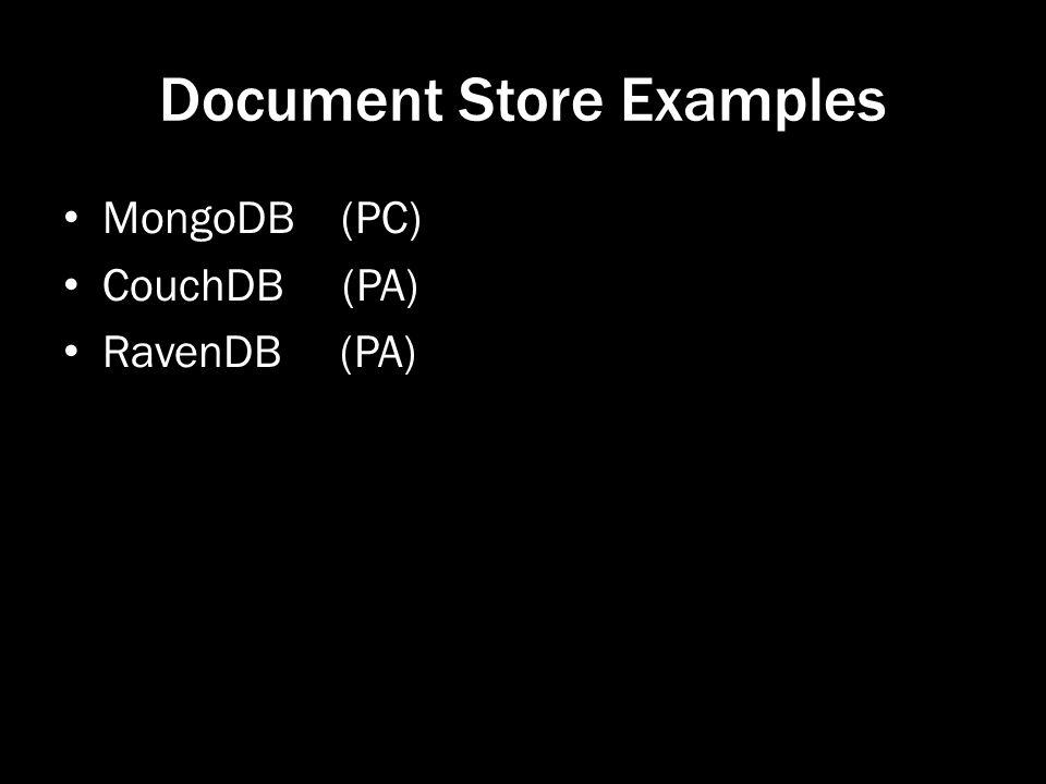 Document Store Examples MongoDB (PC) CouchDB (PA) RavenDB (PA)
