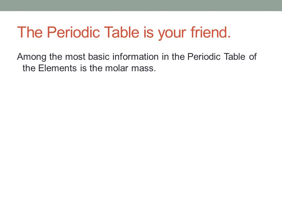 The Periodic Table is your friend.