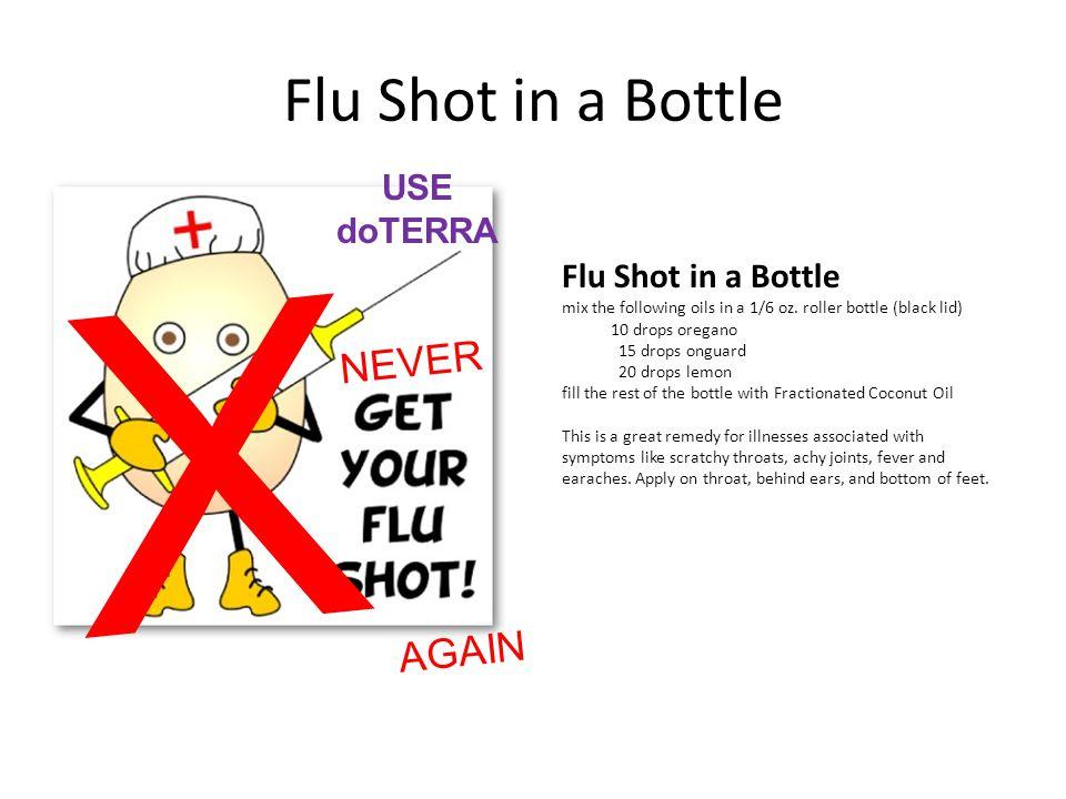 Flu Shot in a Bottle mix the following oils in a 1/6 oz. roller bottle (black lid) 10 drops oregano 15 drops onguard 20 drops lemon fill the rest of t
