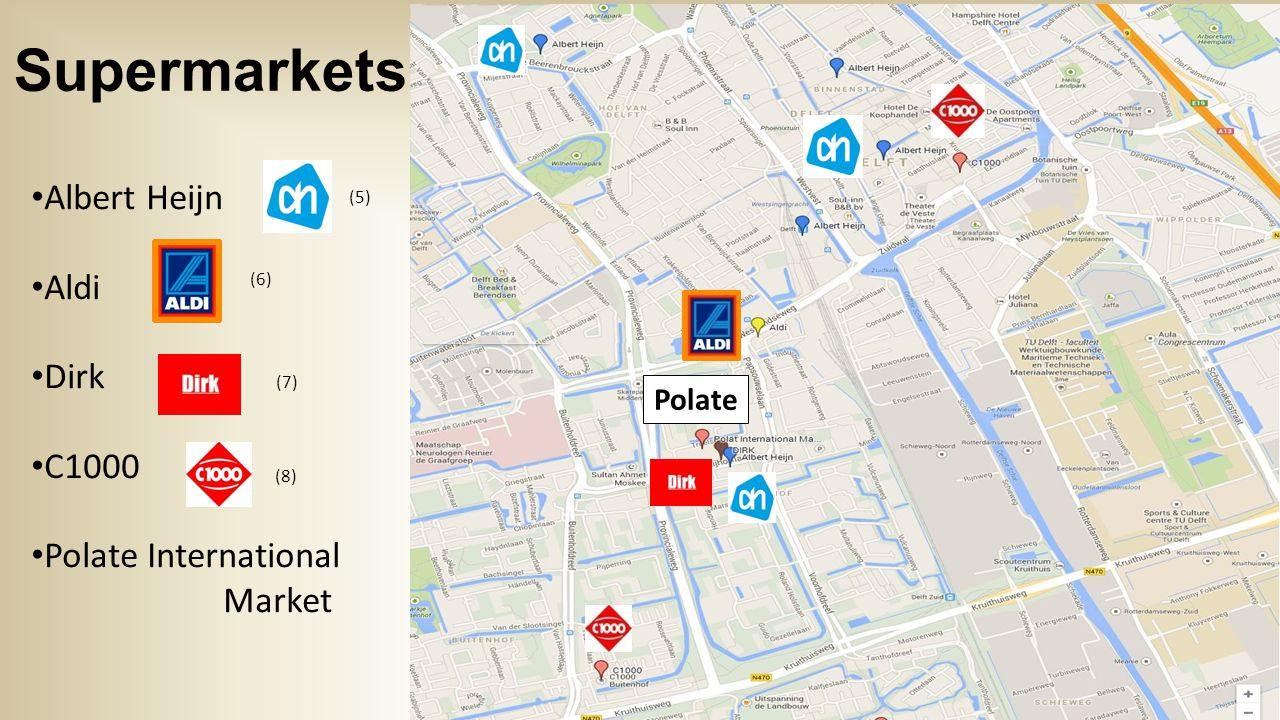 Supermarkets Albert Heijn Aldi Dirk C1000 Polate International Market Polate (5) (6) (7) (8)