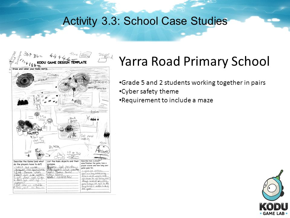 Activity 3.3: School Case Studies Yarra Road Primary School Grade 5 and 2 students working together in pairs Cyber safety theme Requirement to include