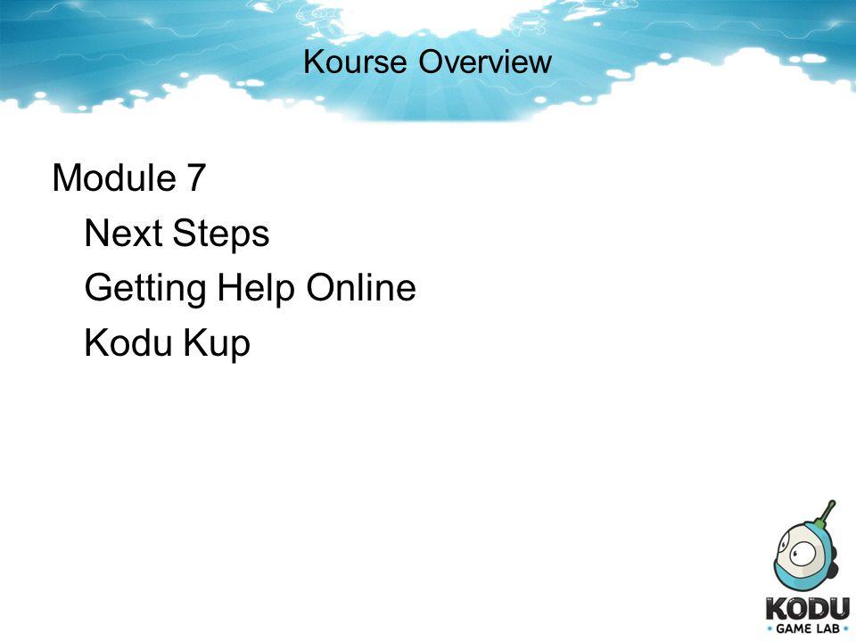 Kourse Overview Module 7 Next Steps Getting Help Online Kodu Kup
