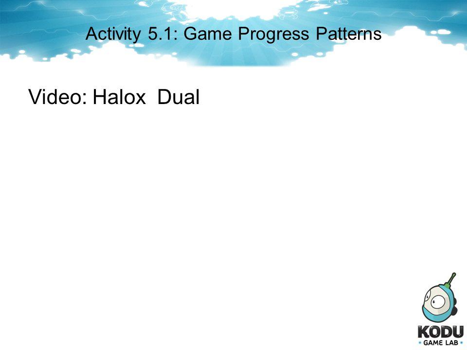 Activity 5.1: Game Progress Patterns Video: Halox Dual