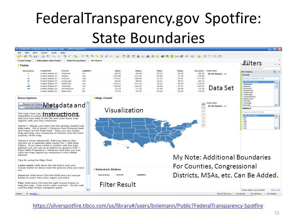 FederalTransparency.gov Spotfire: State Boundaries 15 My Note: Additional Boundaries For Counties, Congressional Districts, MSAs, etc. Can Be Added. D