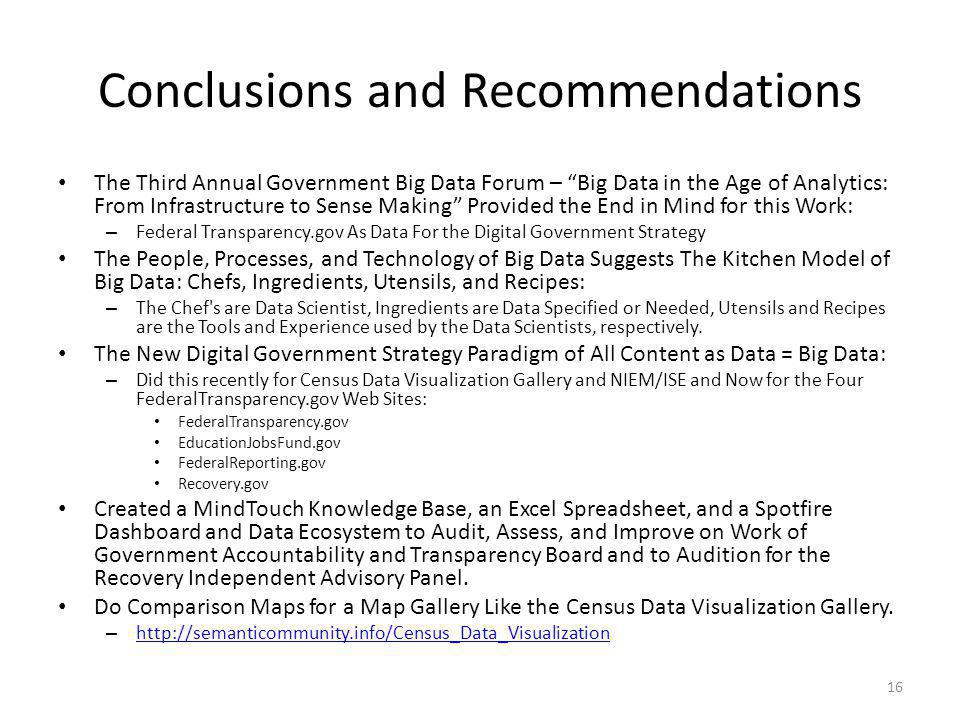 Conclusions and Recommendations The Third Annual Government Big Data Forum – Big Data in the Age of Analytics: From Infrastructure to Sense Making Pro