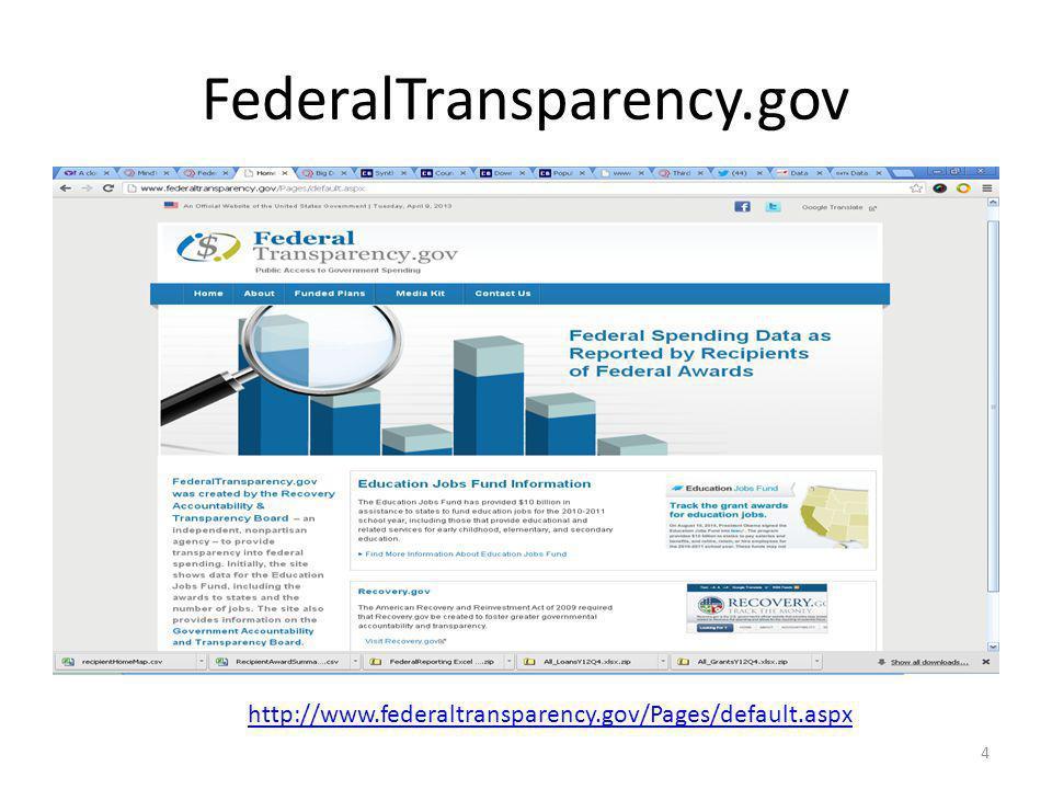 FederalTransparency.gov 4 http://www.federaltransparency.gov/Pages/default.aspx