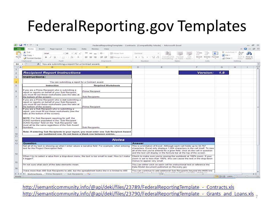 FederalReporting.gov Templates 7 http://semanticommunity.info/@api/deki/files/23789/FederalReportingTemplate_-_Contracts.xls http://semanticommunity.info/@api/deki/files/23790/FederalReportingTemplate_-_Grants_and_Loans.xls