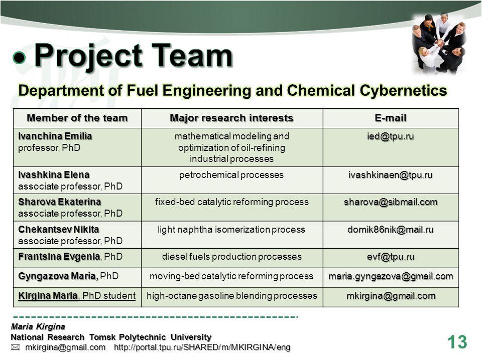 13 Maria Kirgina National Research Tomsk Polytechnic University mkirgina@gmail.com http://portal.tpu.ru/SHARED/m/MKIRGINA/eng mkirgina@gmail.com http: