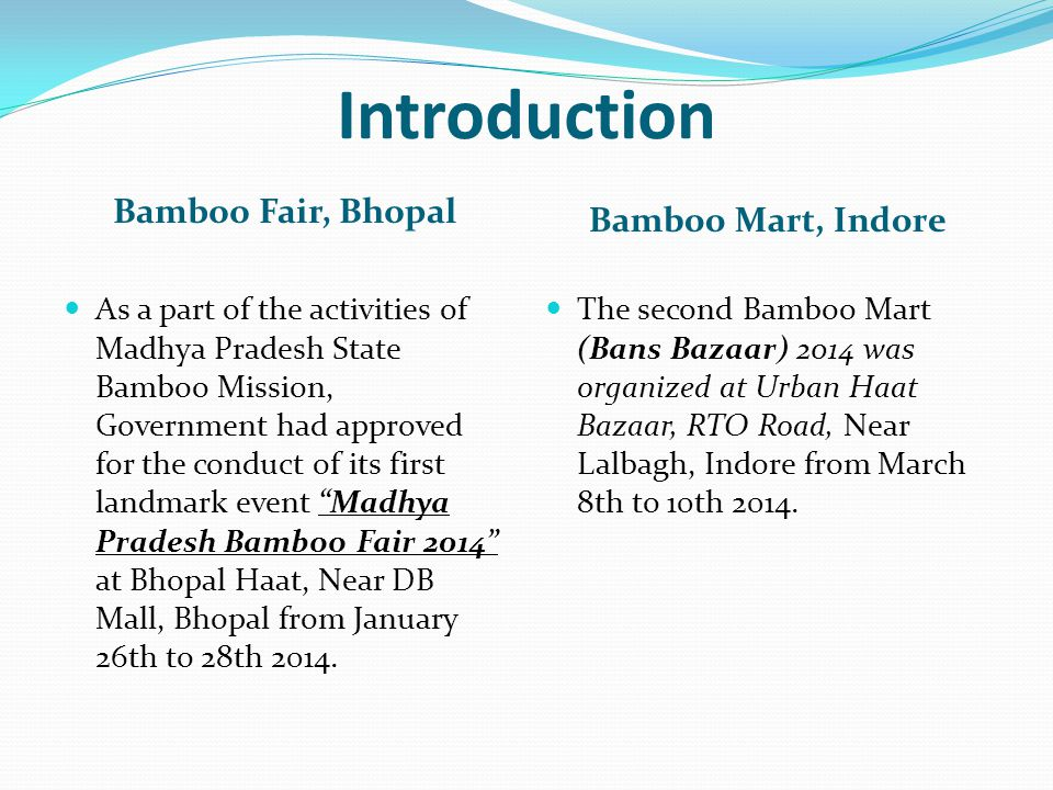 Introduction Bamboo Fair, Bhopal Bamboo Mart, Indore As a part of the activities of Madhya Pradesh State Bamboo Mission, Government had approved for t