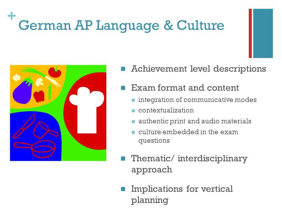 + German AP Language & Culture Achievement level descriptions Exam format and content integration of communicative modes contextualization authentic p