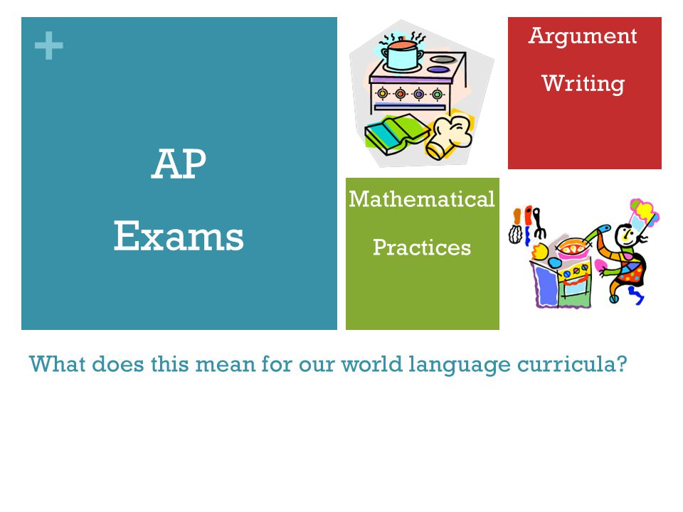 + What does this mean for our world language curricula? AP Exams Mathematical Practices Argument Writing